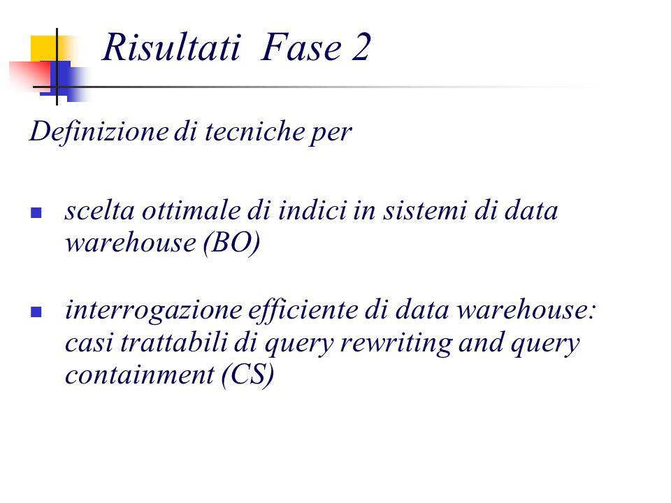 Risultati Fase 2 Definizione di tecniche per scelta ottimale di indici in sistemi di data warehouse (BO) interrogazione efficiente di data warehouse: casi trattabili di query rewriting and query containment (CS)