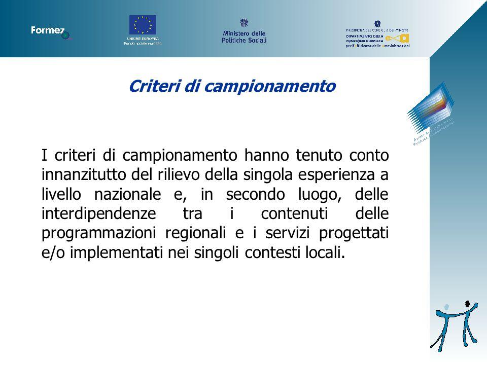 Criteri di campionamento I criteri di campionamento hanno tenuto conto innanzitutto del rilievo della singola esperienza a livello nazionale e, in secondo luogo, delle interdipendenze tra i contenuti delle programmazioni regionali e i servizi progettati e/o implementati nei singoli contesti locali.