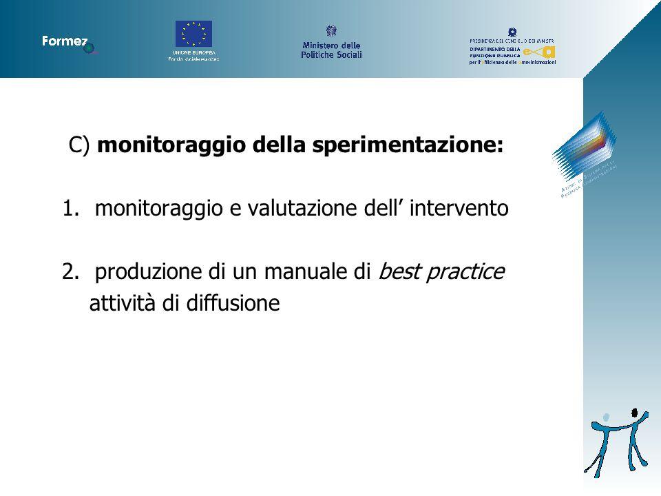 C) monitoraggio della sperimentazione: 1.monitoraggio e valutazione dell' intervento 2.produzione di un manuale di best practice attività di diffusione