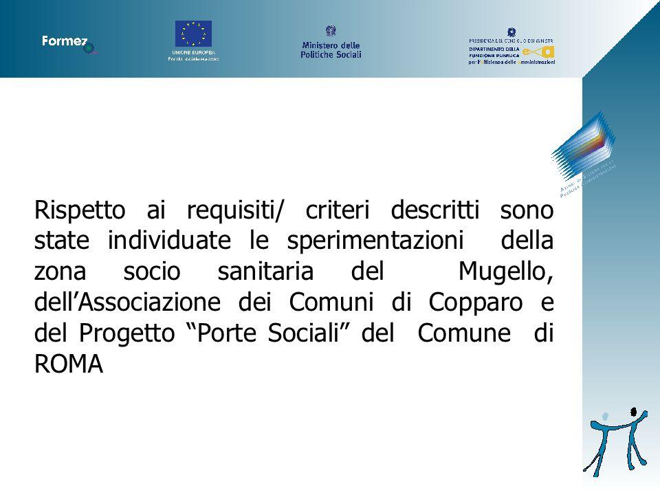 Rispetto ai requisiti/ criteri descritti sono state individuate le sperimentazioni della zona socio sanitaria del Mugello, dell'Associazione dei Comuni di Copparo e del Progetto Porte Sociali del Comune di ROMA