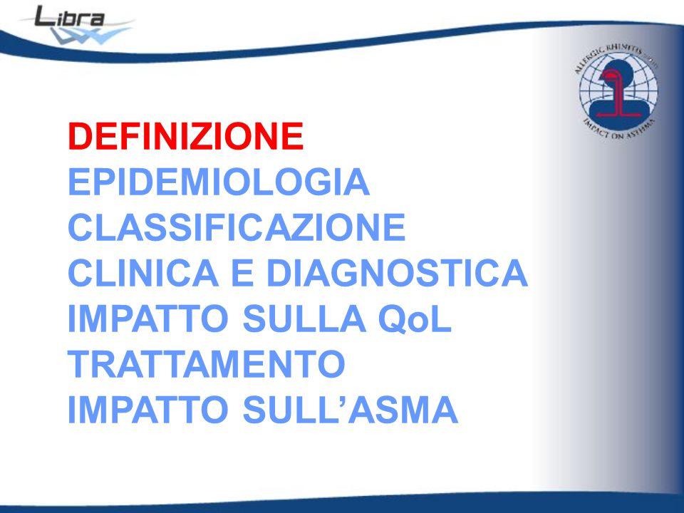 DEFINIZIONE EPIDEMIOLOGIA CLASSIFICAZIONE CLINICA E DIAGNOSTICA IMPATTO SULLA QoL TRATTAMENTO IMPATTO SULL'ASMA