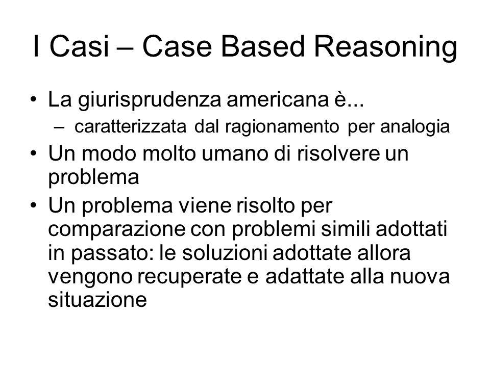 I Casi – Case Based Reasoning La giurisprudenza americana è...