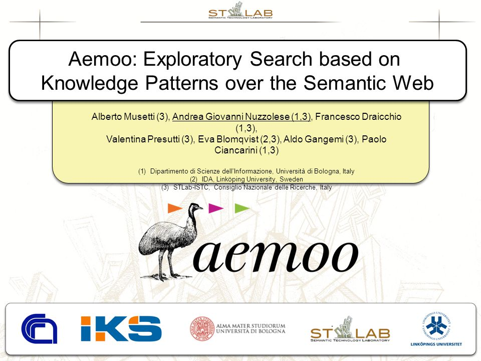 Aemoo: Exploratory Search based on Knowledge Patterns over the Semantic Web Aemoo: Exploratory Search based on Knowledge Patterns over the Semantic We