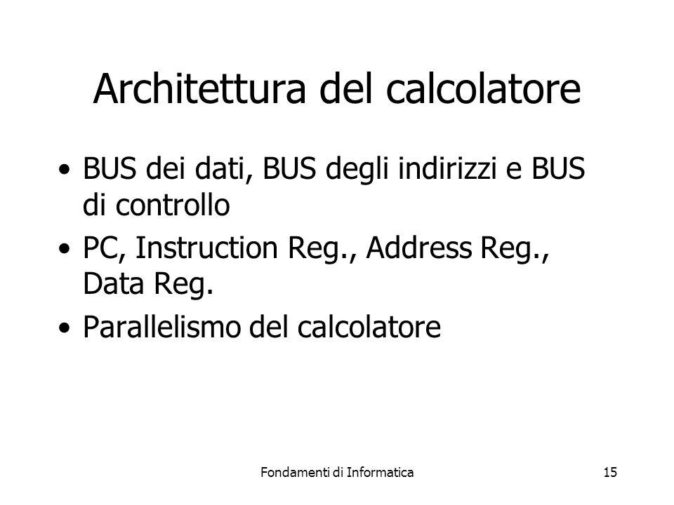 Fondamenti di Informatica15 Architettura del calcolatore BUS dei dati, BUS degli indirizzi e BUS di controllo PC, Instruction Reg., Address Reg., Data Reg.