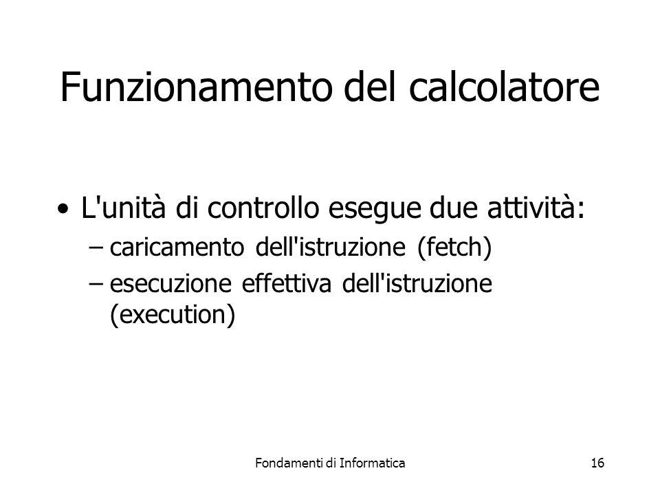Fondamenti di Informatica16 Funzionamento del calcolatore L unità di controllo esegue due attività: –caricamento dell istruzione (fetch) –esecuzione effettiva dell istruzione (execution)