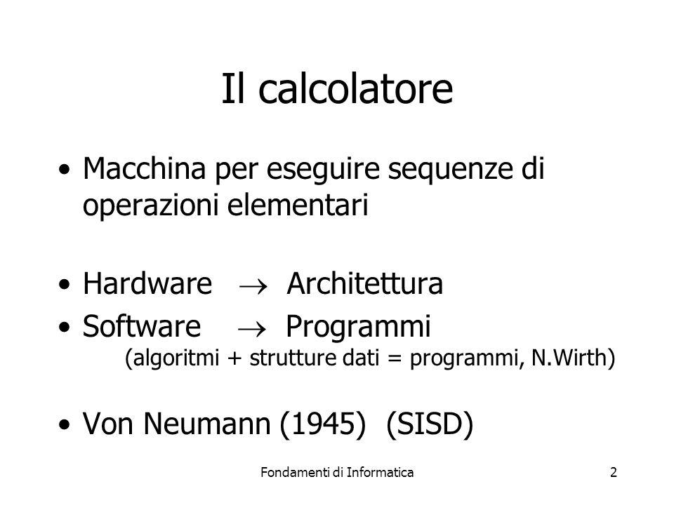 Fondamenti di Informatica2 Il calcolatore Macchina per eseguire sequenze di operazioni elementari Hardware  Architettura Software  Programmi (algoritmi + strutture dati = programmi, N.Wirth) Von Neumann (1945) (SISD)
