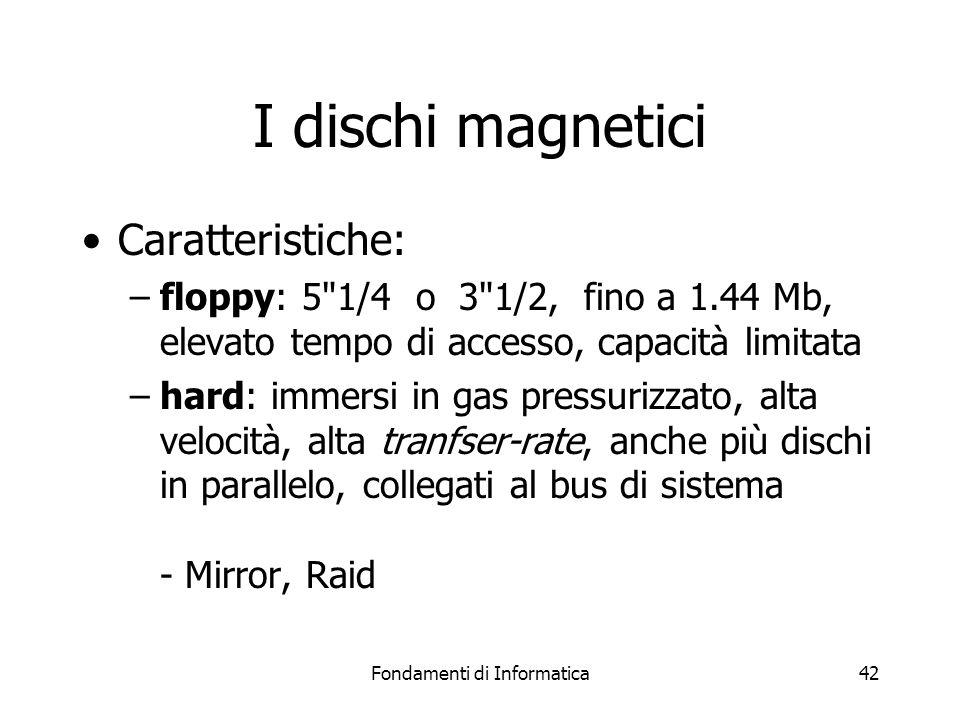 Fondamenti di Informatica42 I dischi magnetici Caratteristiche: –floppy: 5 1/4 o 3 1/2, fino a 1.44 Mb, elevato tempo di accesso, capacità limitata –hard: immersi in gas pressurizzato, alta velocità, alta tranfser-rate, anche più dischi in parallelo, collegati al bus di sistema - Mirror, Raid