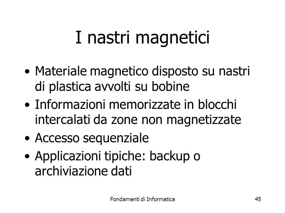 Fondamenti di Informatica45 I nastri magnetici Materiale magnetico disposto su nastri di plastica avvolti su bobine Informazioni memorizzate in blocchi intercalati da zone non magnetizzate Accesso sequenziale Applicazioni tipiche: backup o archiviazione dati
