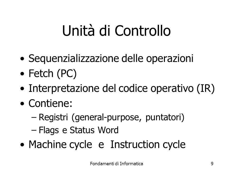 Fondamenti di Informatica9 Unità di Controllo Sequenzializzazione delle operazioni Fetch (PC) Interpretazione del codice operativo (IR) Contiene: –Registri (general-purpose, puntatori) –Flags e Status Word Machine cycle e Instruction cycle