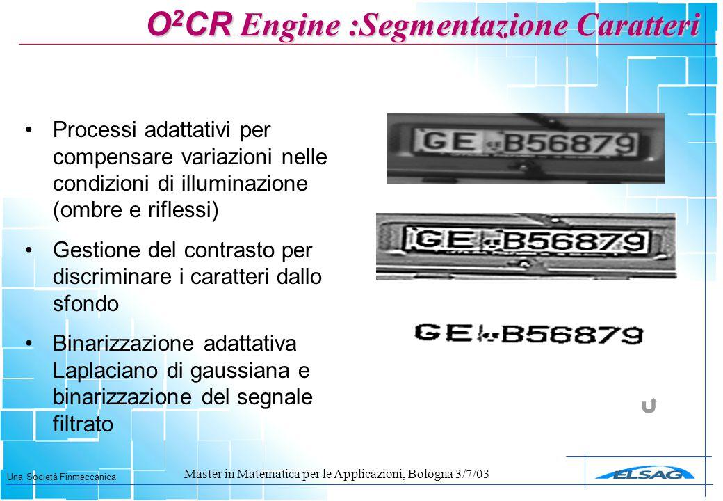 Una Società Finmeccanica Master in Matematica per le Applicazioni, Bologna 3/7/03 Processi adattativi per compensare variazioni nelle condizioni di il