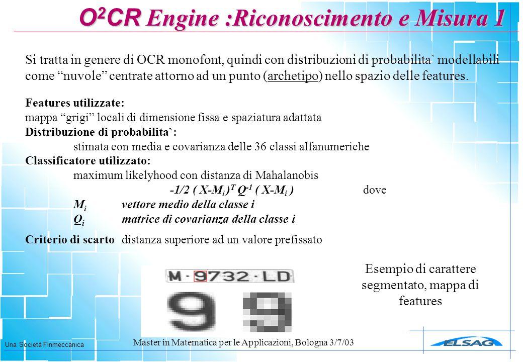 """Una Società Finmeccanica Master in Matematica per le Applicazioni, Bologna 3/7/03 Features utilizzate: mappa """"grigi"""" locali di dimensione fissa e spaz"""