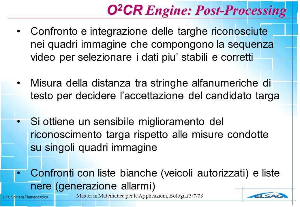 Una Società Finmeccanica Master in Matematica per le Applicazioni, Bologna 3/7/03 Confronto e integrazione delle targhe riconosciute nei quadri immagi