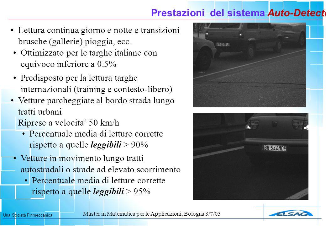 Una Società Finmeccanica Master in Matematica per le Applicazioni, Bologna 3/7/03 Prestazioni del sistema Auto-Detector Vetture parcheggiate al bordo