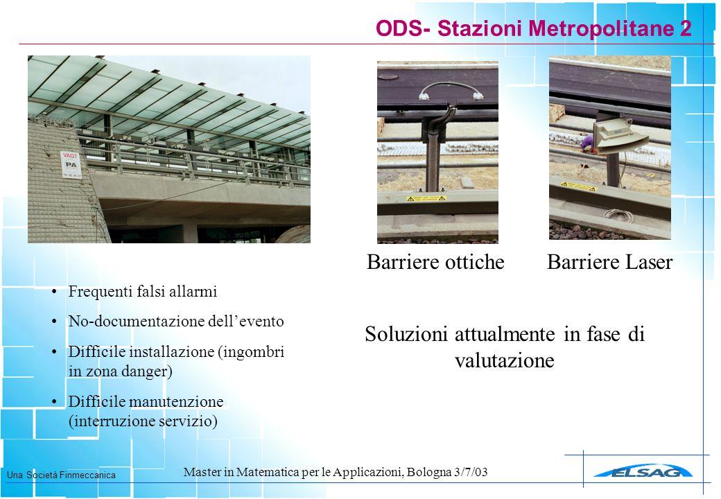 Una Società Finmeccanica Master in Matematica per le Applicazioni, Bologna 3/7/03 ODS- Stazioni Metropolitane 2 Soluzioni attualmente in fase di valut
