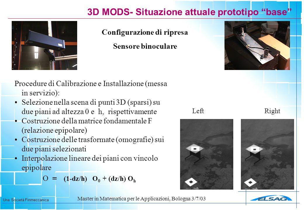 """Una Società Finmeccanica Master in Matematica per le Applicazioni, Bologna 3/7/03 3D MODS- Situazione attuale prototipo """"base"""" Configurazione di ripre"""