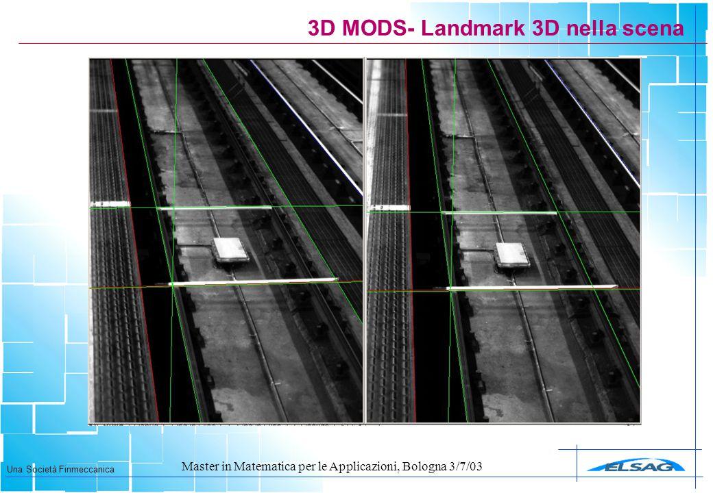 Una Società Finmeccanica Master in Matematica per le Applicazioni, Bologna 3/7/03 3D MODS- Landmark 3D nella scena