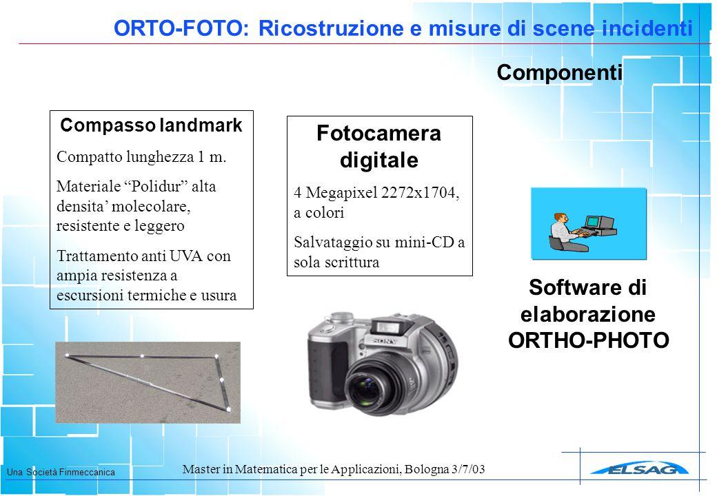 """Una Società Finmeccanica Master in Matematica per le Applicazioni, Bologna 3/7/03 Componenti Compasso landmark Compatto lunghezza 1 m. Materiale """"Poli"""