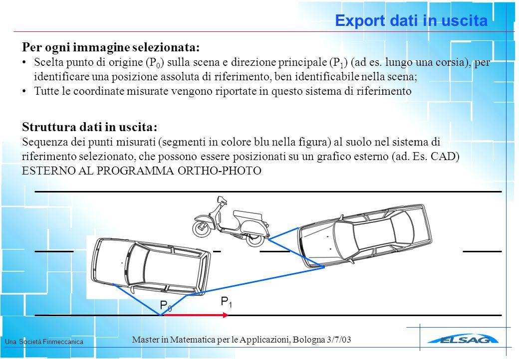 Una Società Finmeccanica Master in Matematica per le Applicazioni, Bologna 3/7/03 P0P0 Export dati in uscita Per ogni immagine selezionata: Scelta pun