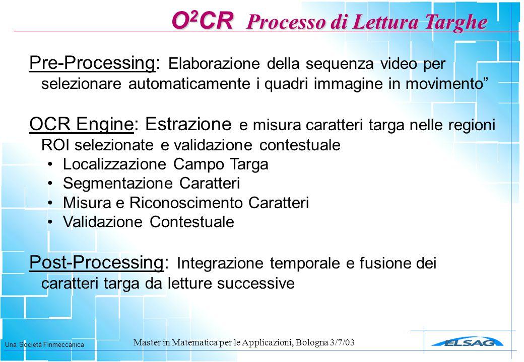 Una Società Finmeccanica Master in Matematica per le Applicazioni, Bologna 3/7/03 Pre-Processing: Elaborazione della sequenza video per selezionare au