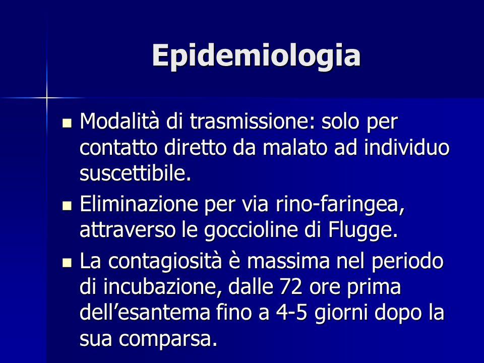 Epidemiologia Modalità di trasmissione: solo per contatto diretto da malato ad individuo suscettibile. Modalità di trasmissione: solo per contatto dir