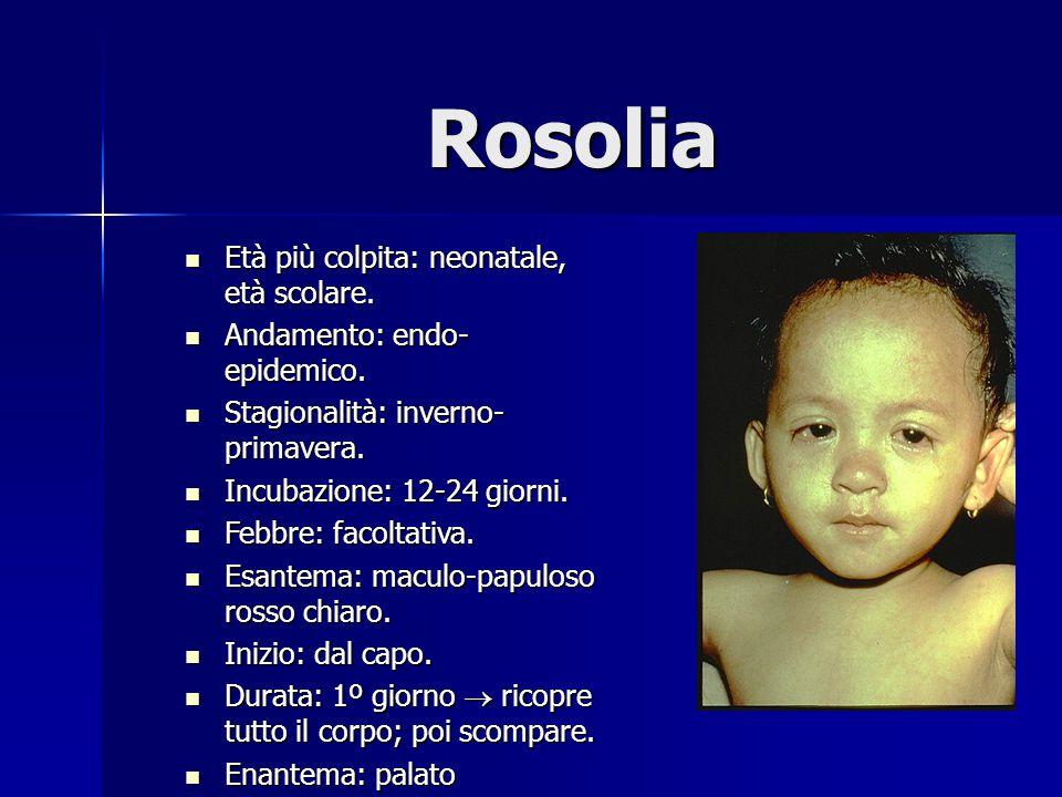Rosolia Età più colpita: neonatale, età scolare. Età più colpita: neonatale, età scolare. Andamento: endo- epidemico. Andamento: endo- epidemico. Stag