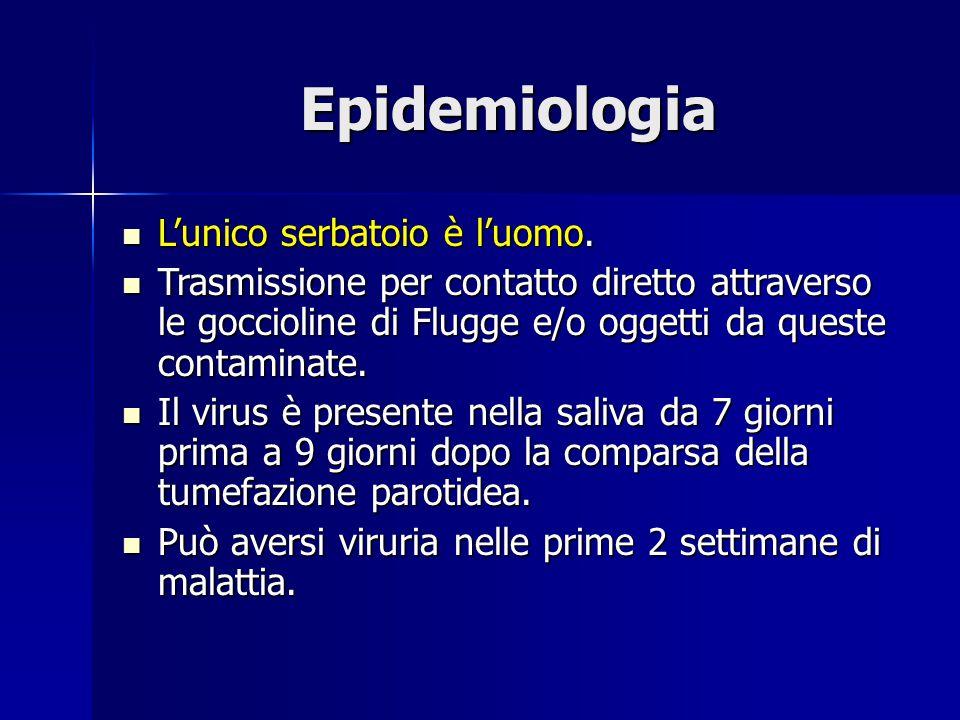 Epidemiologia L'unico serbatoio è l'uomo. L'unico serbatoio è l'uomo. Trasmissione per contatto diretto attraverso le goccioline di Flugge e/o oggetti