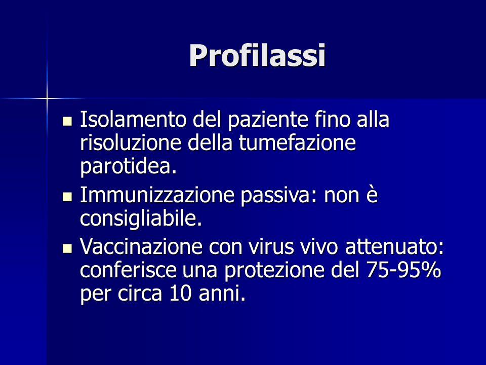 Profilassi Isolamento del paziente fino alla risoluzione della tumefazione parotidea. Isolamento del paziente fino alla risoluzione della tumefazione