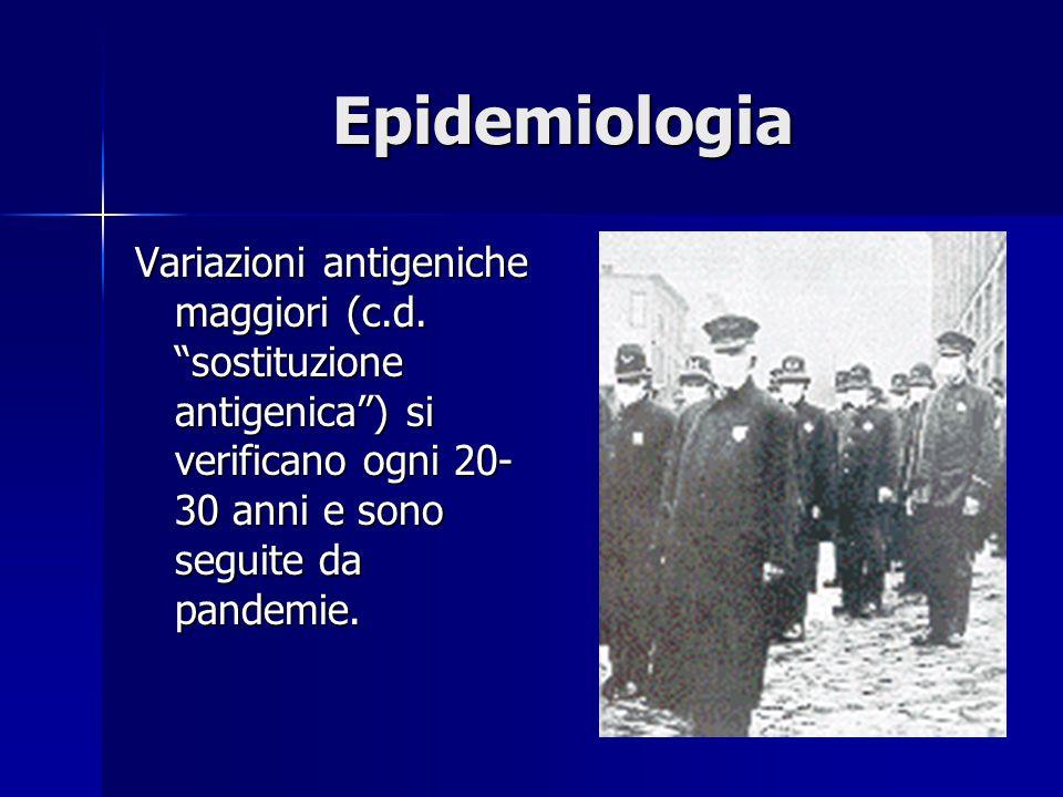 """Epidemiologia Variazioni antigeniche maggiori (c.d. """"sostituzione antigenica"""") si verificano ogni 20- 30 anni e sono seguite da pandemie."""