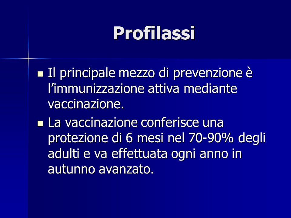 Profilassi Il principale mezzo di prevenzione è l'immunizzazione attiva mediante vaccinazione. Il principale mezzo di prevenzione è l'immunizzazione a