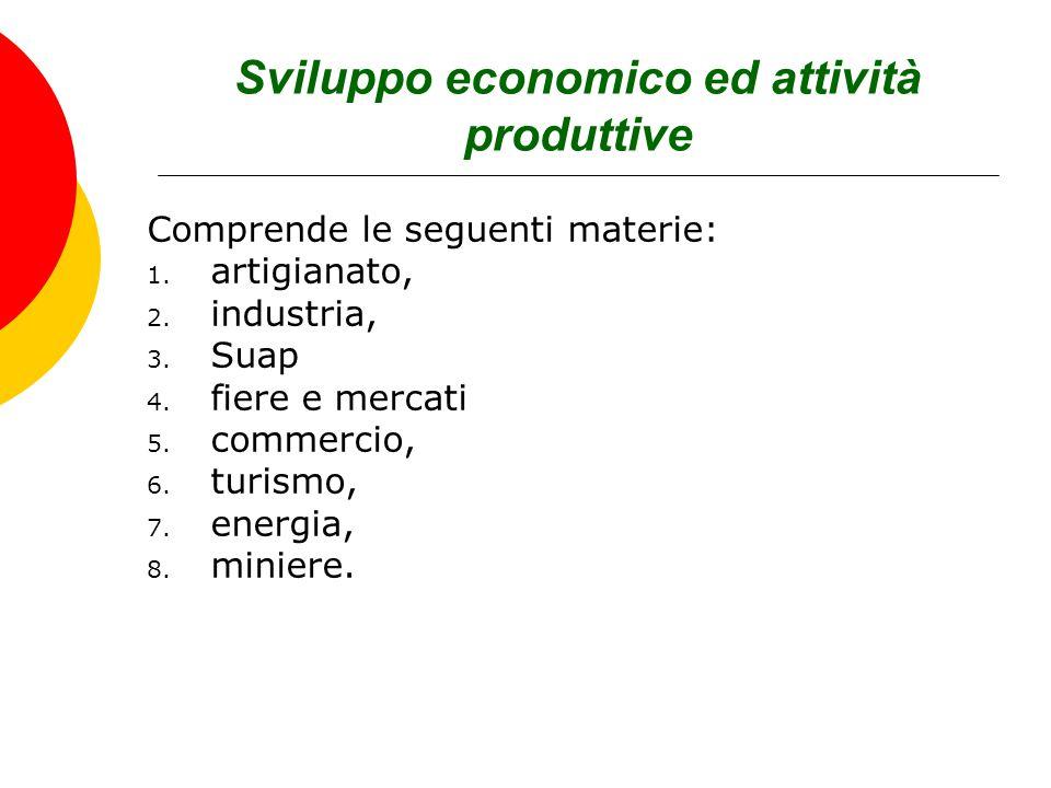 Sviluppo economico ed attività produttive Comprende le seguenti materie: 1. artigianato, 2. industria, 3. Suap 4. fiere e mercati 5. commercio, 6. tur