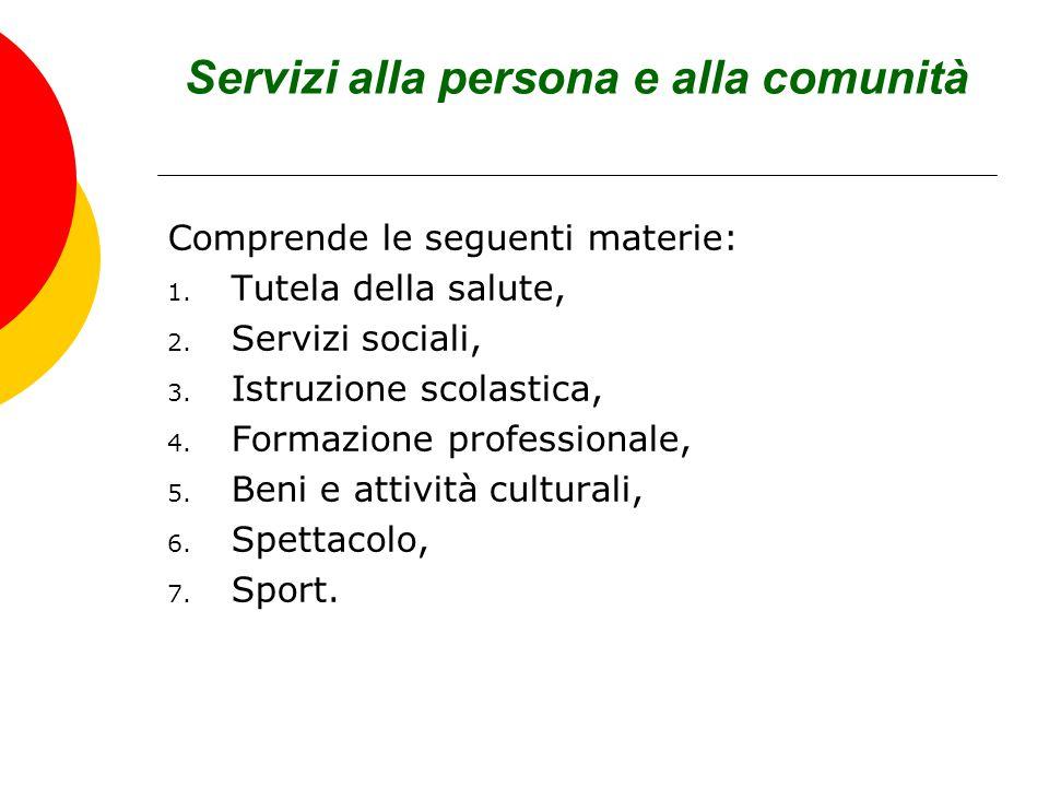 Servizi alla persona e alla comunità Comprende le seguenti materie: 1. Tutela della salute, 2. Servizi sociali, 3. Istruzione scolastica, 4. Formazion