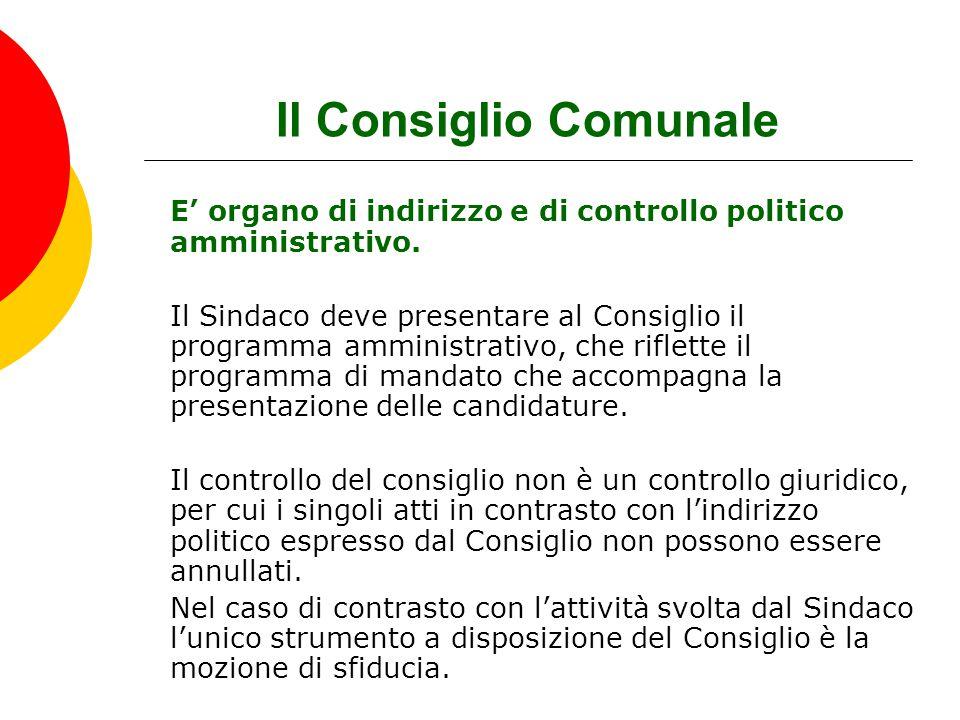 Il Consiglio Comunale E' organo di indirizzo e di controllo politico amministrativo. Il Sindaco deve presentare al Consiglio il programma amministrati