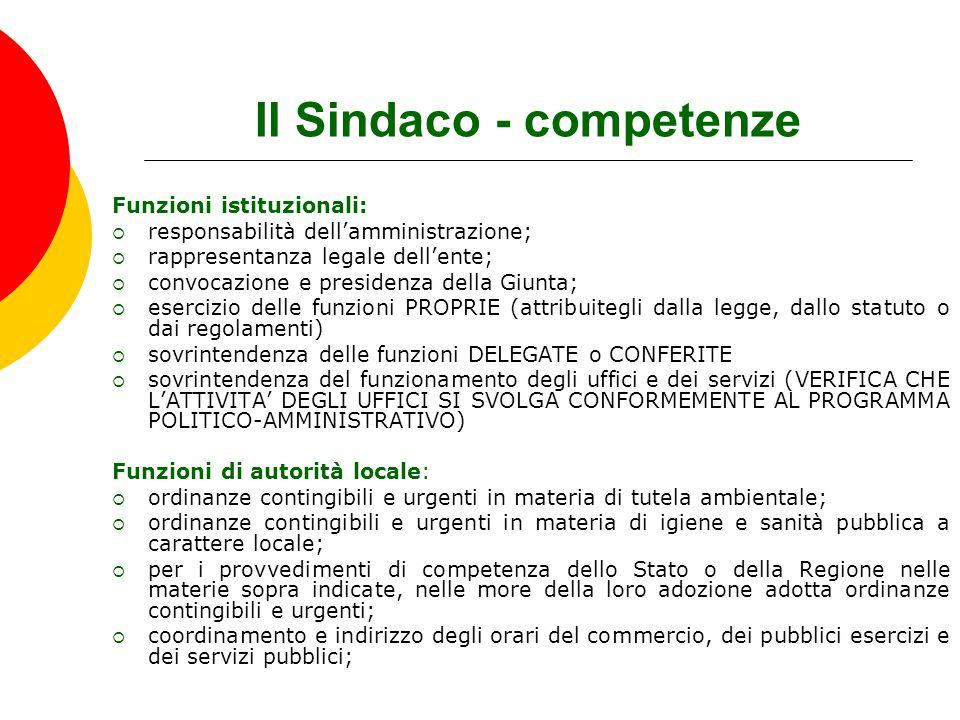 Il Sindaco - competenze Funzioni istituzionali:  responsabilità dell'amministrazione;  rappresentanza legale dell'ente;  convocazione e presidenza