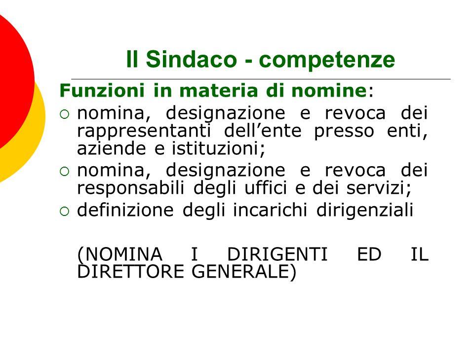 Il Sindaco - competenze Funzioni in materia di nomine:  nomina, designazione e revoca dei rappresentanti dell'ente presso enti, aziende e istituzioni