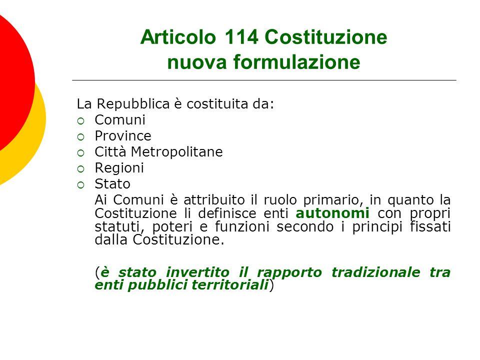 Articolo 114 Costituzione nuova formulazione La Repubblica è costituita da:  Comuni  Province  Città Metropolitane  Regioni  Stato Ai Comuni è at