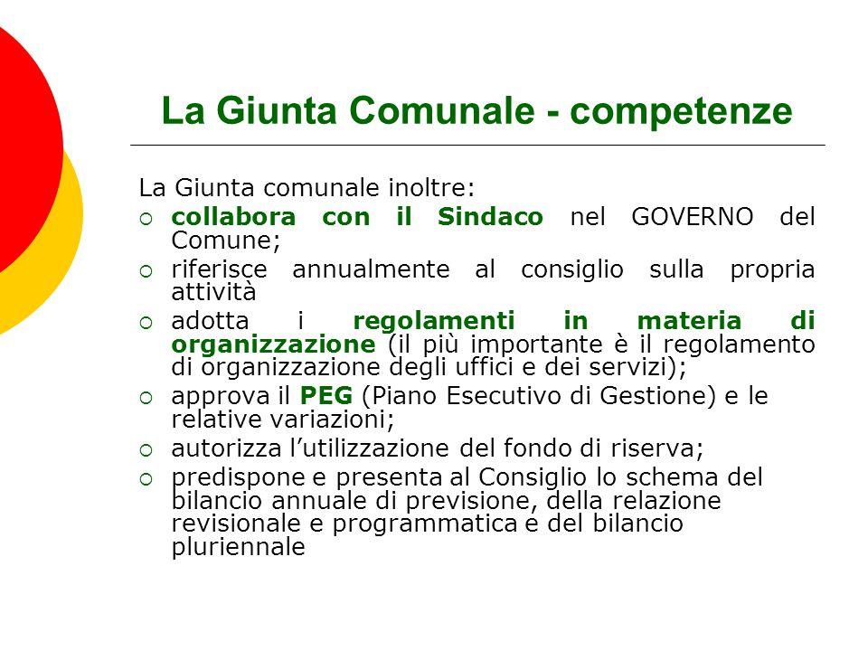 La Giunta Comunale - competenze La Giunta comunale inoltre:  collabora con il Sindaco nel GOVERNO del Comune;  riferisce annualmente al consiglio su