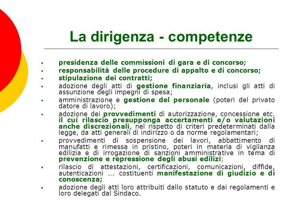 La dirigenza - competenze presidenza delle commissioni di gara e di concorso; responsabilità delle procedure di appalto e di concorso; stipulazione de