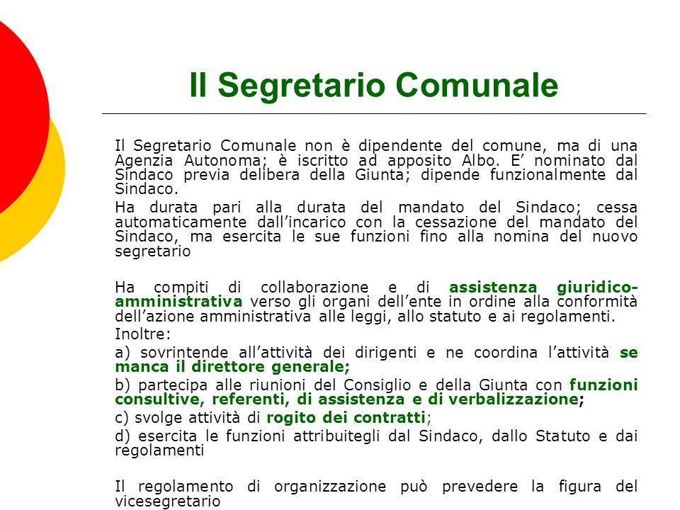 Il Segretario Comunale Il Segretario Comunale non è dipendente del comune, ma di una Agenzia Autonoma; è iscritto ad apposito Albo. E' nominato dal Si