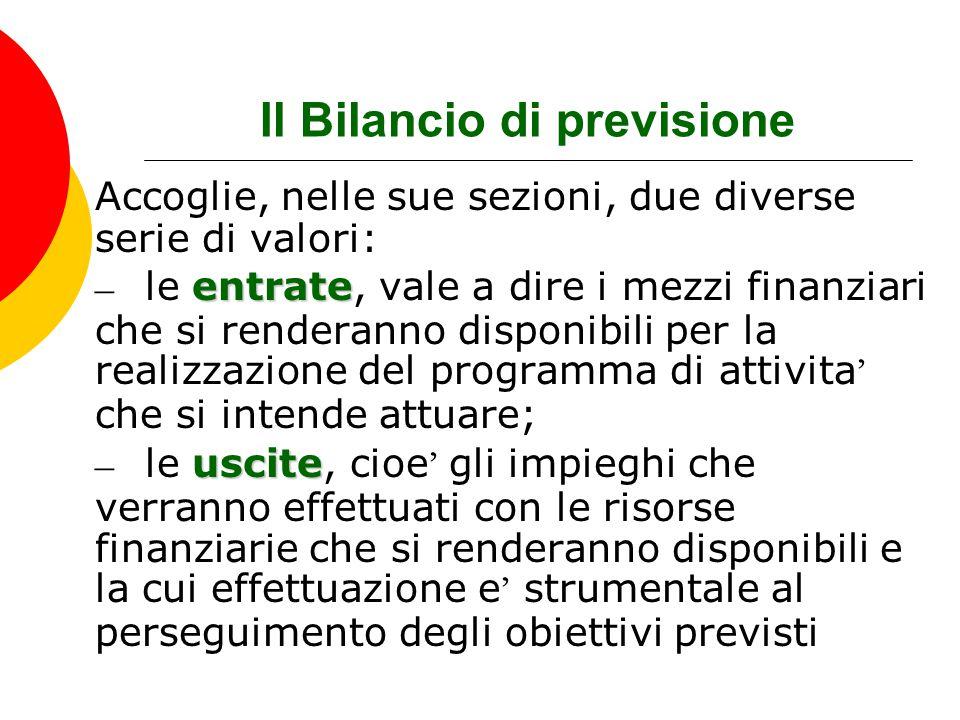 Il Bilancio di previsione Accoglie, nelle sue sezioni, due diverse serie di valori: entrate – le entrate, vale a dire i mezzi finanziari che si render