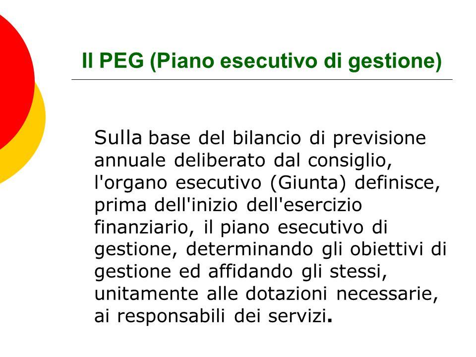 Il PEG (Piano esecutivo di gestione) Sulla base del bilancio di previsione annuale deliberato dal consiglio, l'organo esecutivo (Giunta) definisce, pr