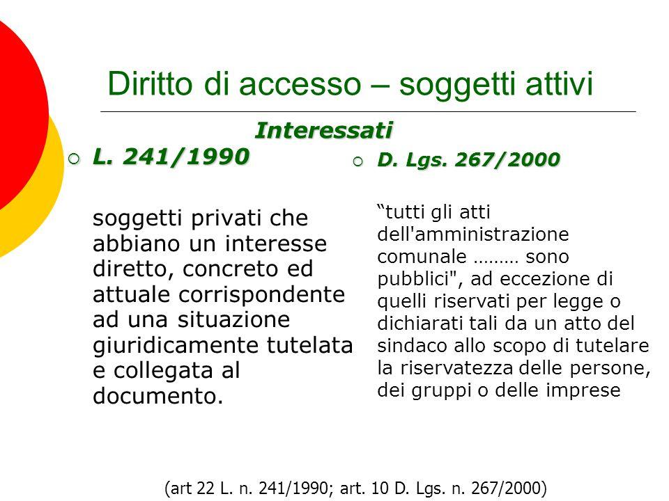 Diritto di accesso – soggetti attivi  L. 241/1990 soggetti privati che abbiano un interesse diretto, concreto ed attuale corrispondente ad una situaz