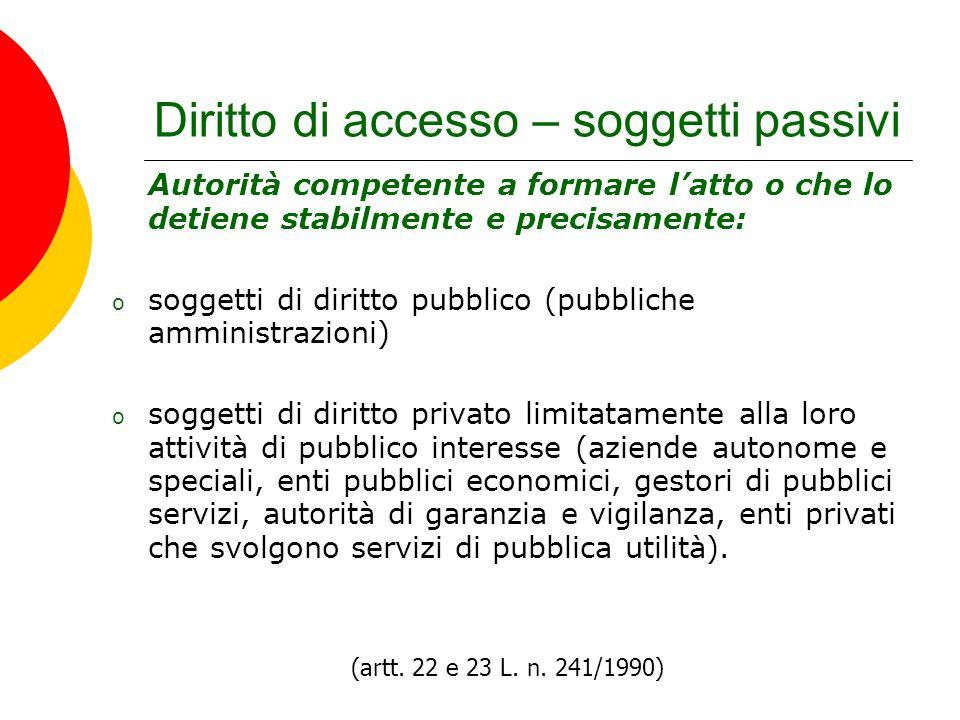 Diritto di accesso – soggetti passivi Autorità competente a formare l'atto o che lo detiene stabilmente e precisamente: o soggetti di diritto pubblico