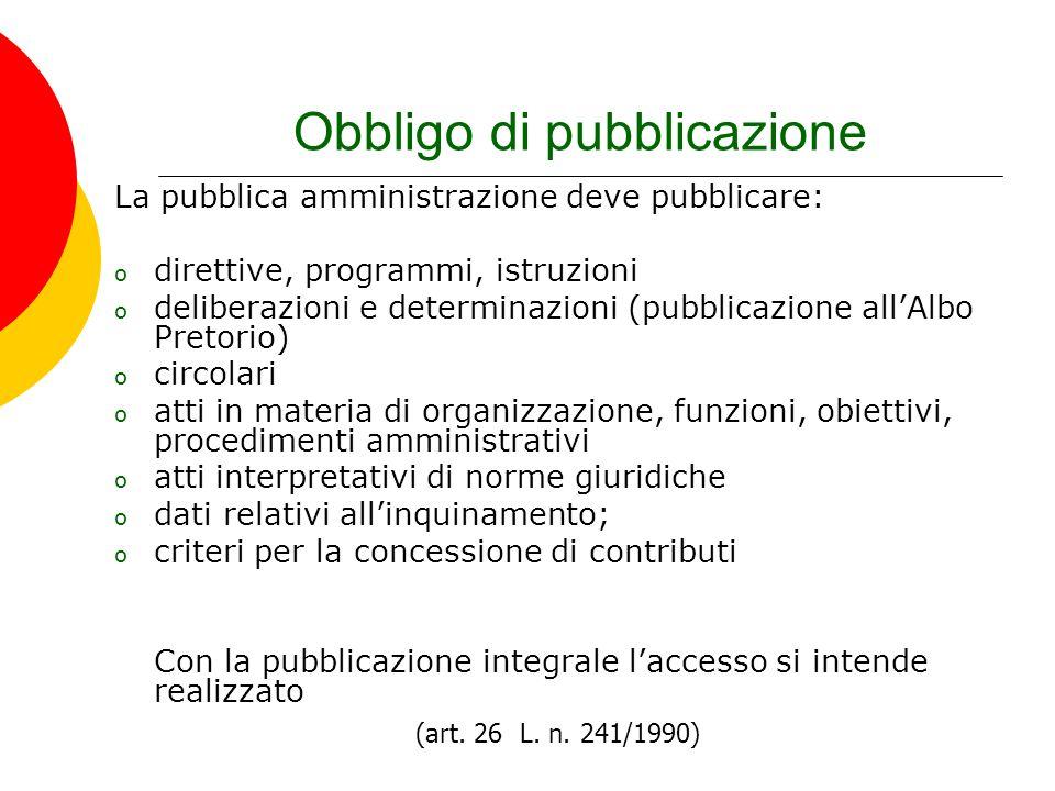 Obbligo di pubblicazione La pubblica amministrazione deve pubblicare: o direttive, programmi, istruzioni o deliberazioni e determinazioni (pubblicazio