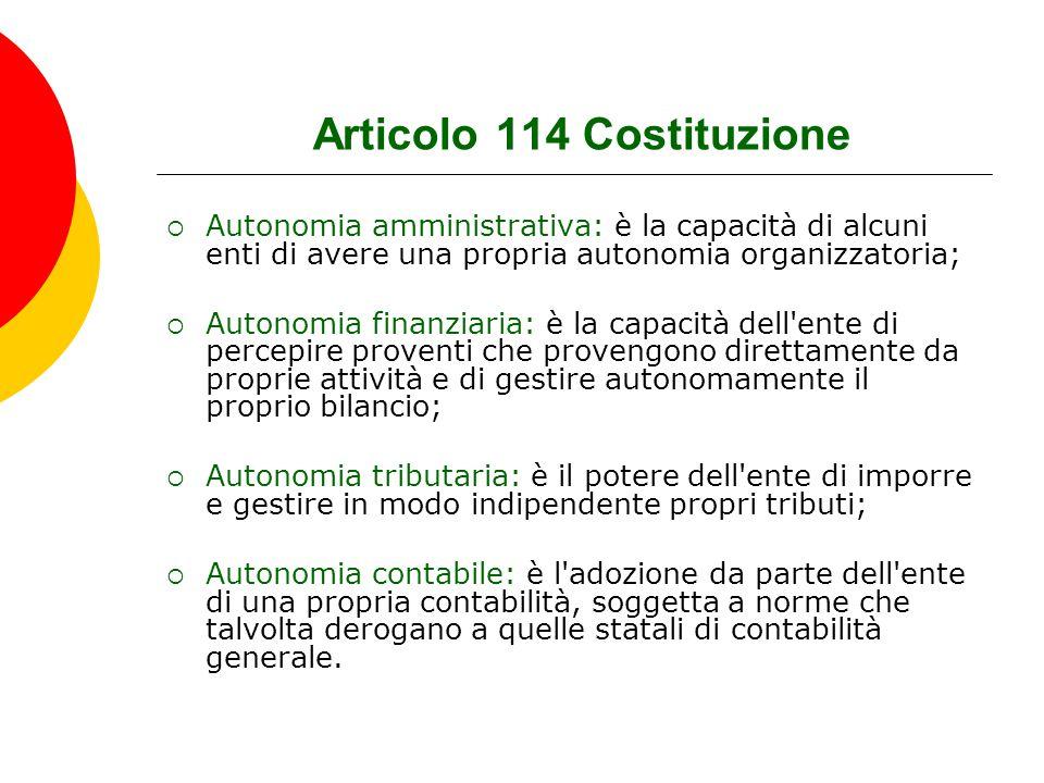 Articolo 114 Costituzione  Autonomia amministrativa: è la capacità di alcuni enti di avere una propria autonomia organizzatoria;  Autonomia finanzia