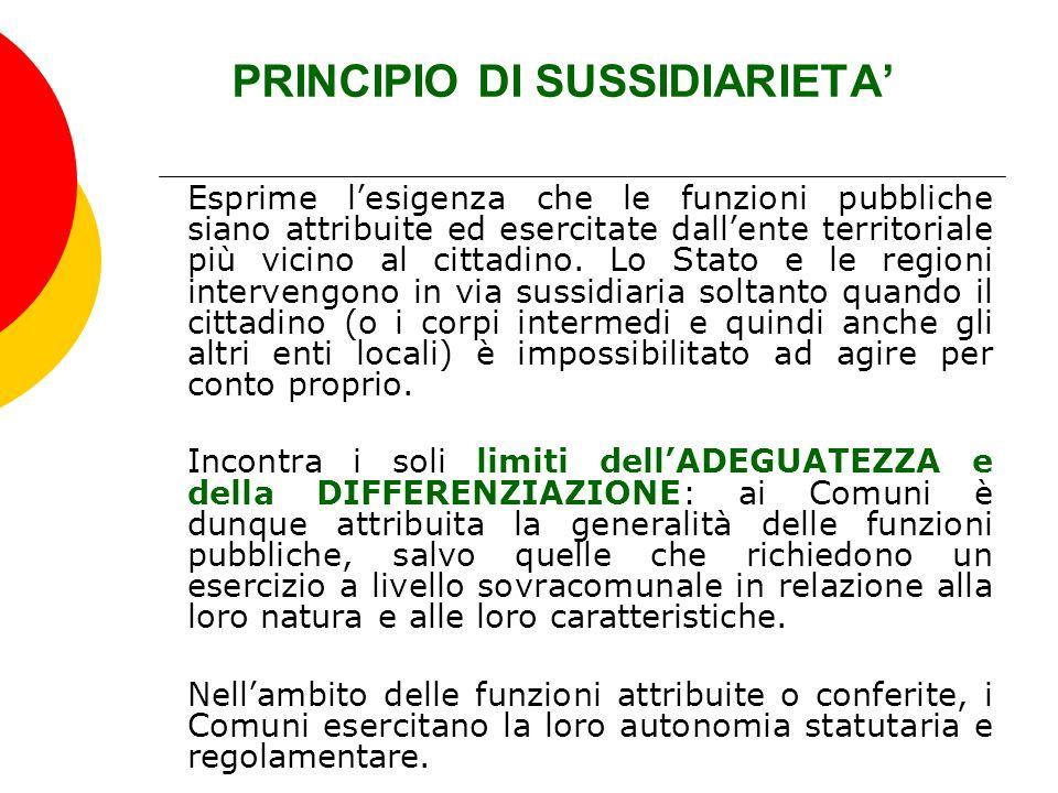 PRINCIPIO DI SUSSIDIARIETA' Esprime l'esigenza che le funzioni pubbliche siano attribuite ed esercitate dall'ente territoriale più vicino al cittadino
