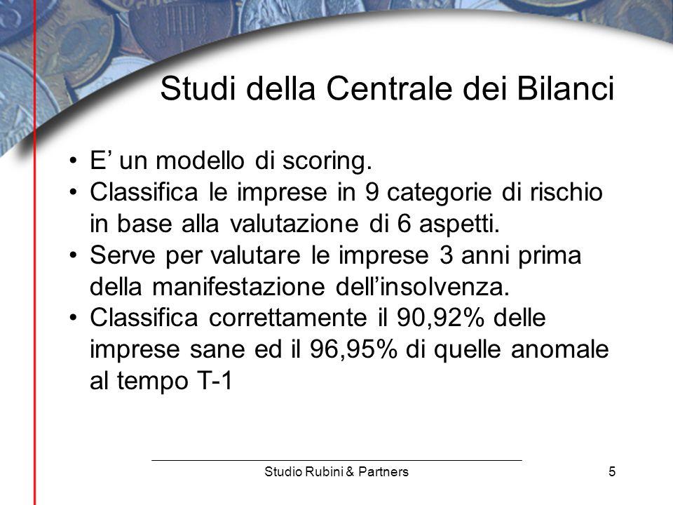 5 Studi della Centrale dei Bilanci Studio Rubini & Partners E' un modello di scoring.