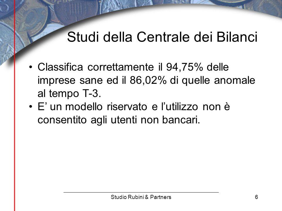 6 Studi della Centrale dei Bilanci Studio Rubini & Partners Classifica correttamente il 94,75% delle imprese sane ed il 86,02% di quelle anomale al tempo T-3.