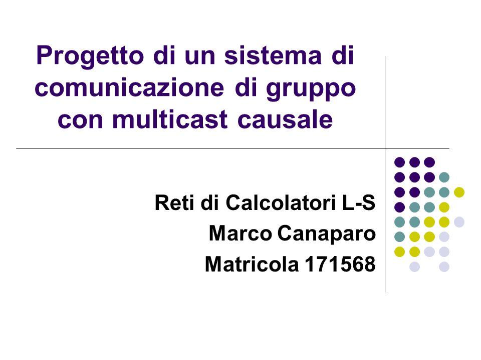 Progetto di un sistema di comunicazione di gruppo con multicast causale Reti di Calcolatori L-S Marco Canaparo Matricola 171568