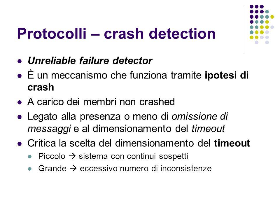 Protocolli – crash detection Unreliable failure detector È un meccanismo che funziona tramite ipotesi di crash A carico dei membri non crashed Legato
