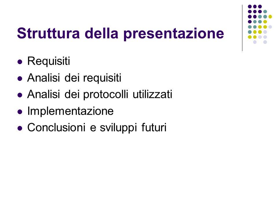 Struttura della presentazione Requisiti Analisi dei requisiti Analisi dei protocolli utilizzati Implementazione Conclusioni e sviluppi futuri